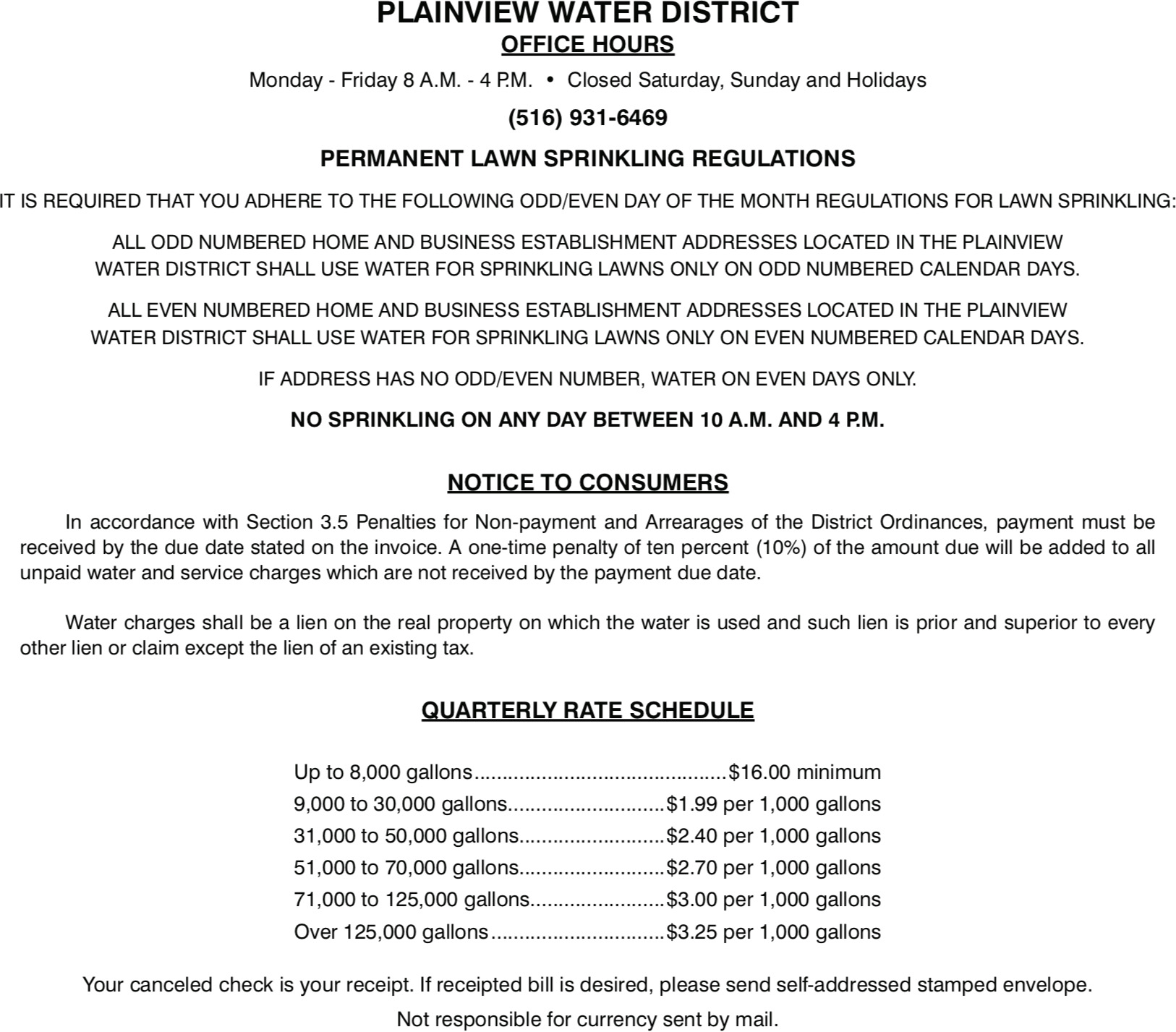 Plainview Water Bill - Back Page